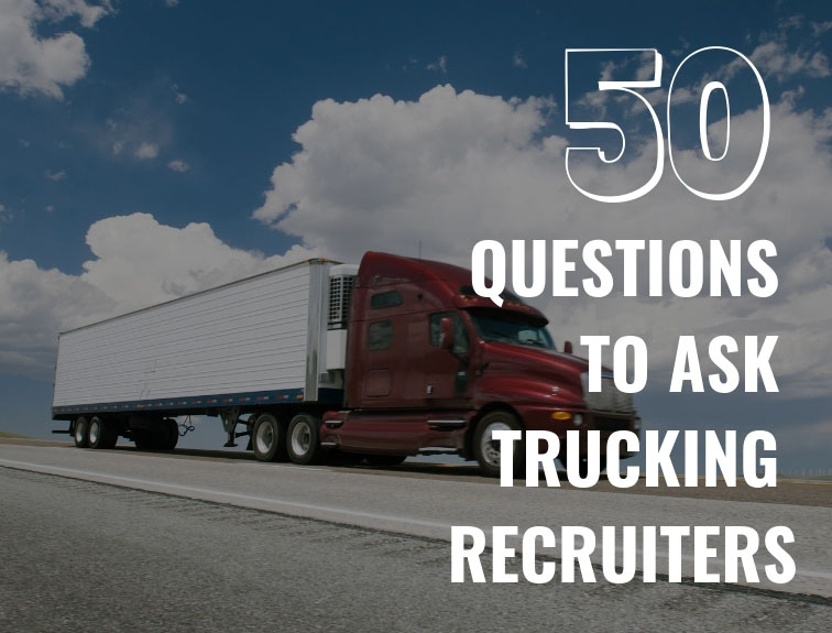"red semi truck driving with words ""50 questions to as trucking recruiters"" in front of it"
