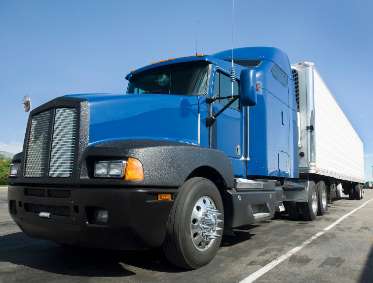 front angle of a blue semi