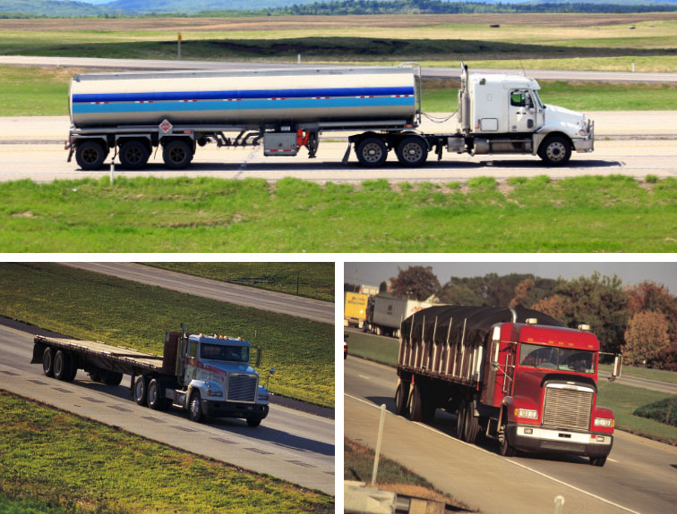 A collage of three different types of trucks.