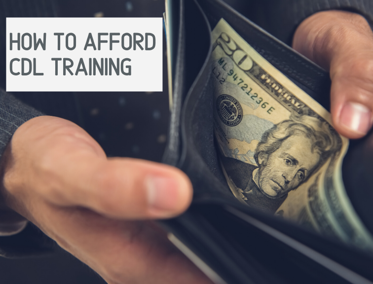 How to Afford CDL Training text with wallet holding cash