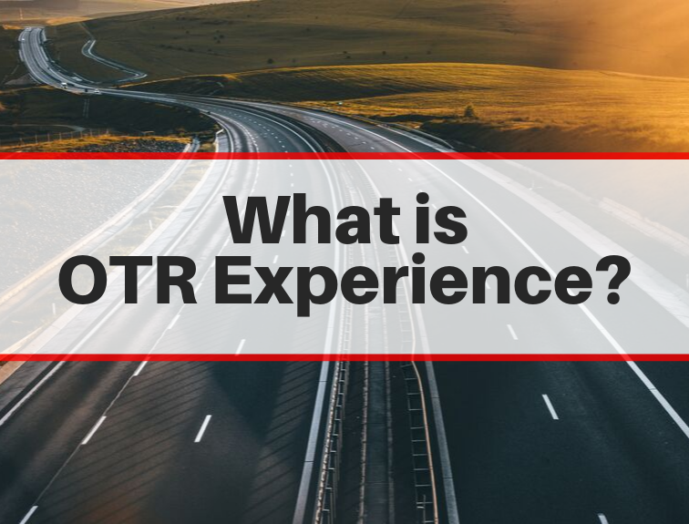 What is OTR Experience text on a highway background