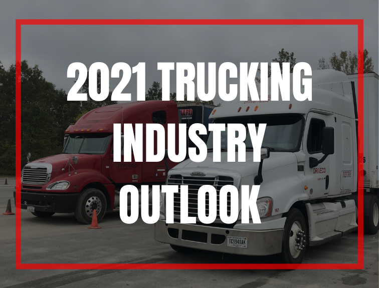 "photo of 2 driveco trucks with text over image that reads ""2021 trucking industry outlook"""